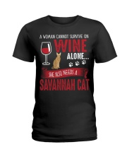 Woman Need Wine And Savannah Cat Ladies T-Shirt thumbnail