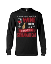 Woman Need Wine And Savannah Cat Long Sleeve Tee tile