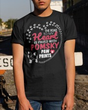 My Heart Paved With Pomsky Paw Prints Classic T-Shirt apparel-classic-tshirt-lifestyle-29