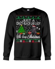Crazy Lady Loves Black Lab  And Christmas Crewneck Sweatshirt tile