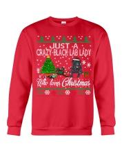 Crazy Lady Loves Black Lab  And Christmas Crewneck Sweatshirt front