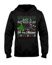 Crazy Lady Loves Black Lab  And Christmas Hooded Sweatshirt thumbnail