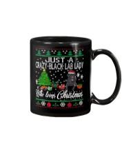 Crazy Lady Loves Black Lab  And Christmas Mug thumbnail