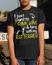 Drink Wine With Rat Terrier Classic T-Shirt apparel-classic-tshirt-lifestyle-29