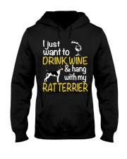 Drink Wine With Rat Terrier Hooded Sweatshirt thumbnail