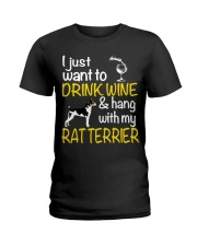 Drink Wine With Rat Terrier Ladies T-Shirt thumbnail