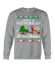 Crazy Malinois Lady Who Loves Christmas Crewneck Sweatshirt tile