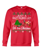 Crazy Malinois Lady Who Loves Christmas Crewneck Sweatshirt front