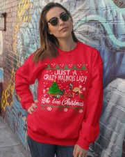 Crazy Malinois Lady Who Loves Christmas Crewneck Sweatshirt lifestyle-unisex-sweatshirt-front-3