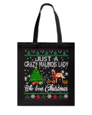 Crazy Malinois Lady Who Loves Christmas Tote Bag thumbnail