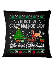Crazy Malinois Lady Who Loves Christmas Square Pillowcase thumbnail