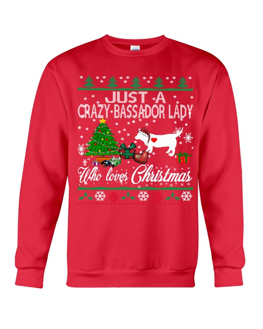 Crazy Lady Loves Bassador  And Christmas Crewneck Sweatshirt