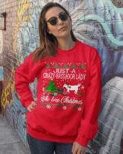 Crazy Lady Loves Bassador  And Christmas Crewneck Sweatshirt lifestyle-unisex-sweatshirt-front-3