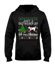Crazy Lady Loves Bassador  And Christmas Hooded Sweatshirt thumbnail