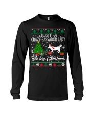 Crazy Lady Loves Bassador  And Christmas Long Sleeve Tee thumbnail