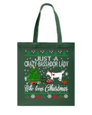 Crazy Lady Loves Bassador  And Christmas Tote Bag thumbnail