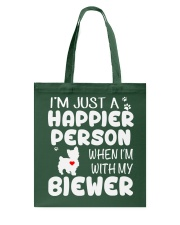 Happier Person Biewer Terrier Tote Bag thumbnail