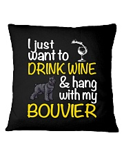 Bouvier Drink Wine Square Pillowcase thumbnail