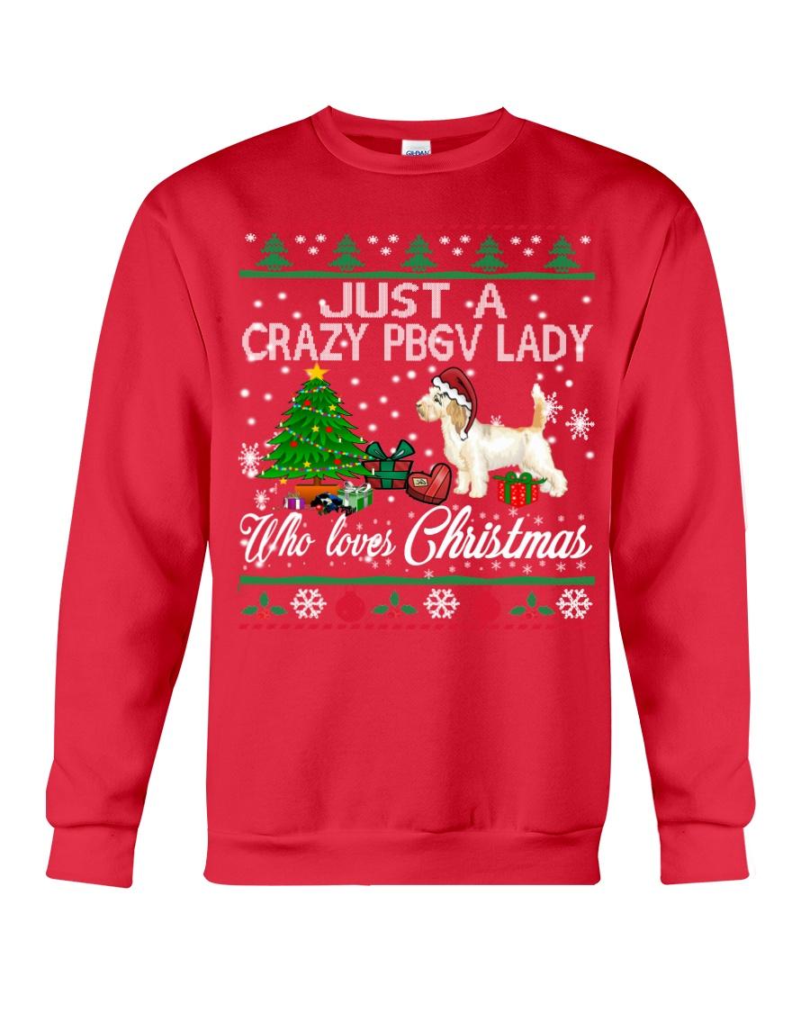 Crazy Lady Loves PBGV And Christmas Crewneck Sweatshirt