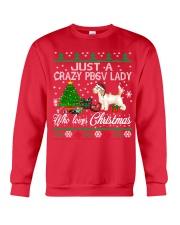 Crazy Lady Loves PBGV And Christmas Crewneck Sweatshirt front