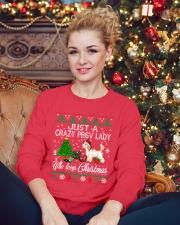 Crazy Lady Loves PBGV And Christmas Crewneck Sweatshirt lifestyle-holiday-sweater-front-2