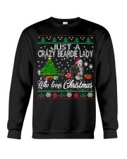 Crazy Lady Loves Beardie And Christmas Crewneck Sweatshirt tile