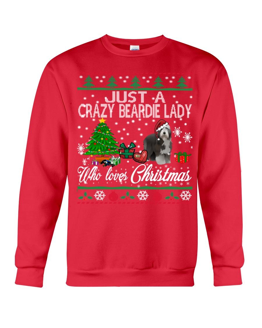 Crazy Lady Loves Beardie And Christmas Crewneck Sweatshirt