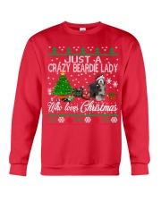 Crazy Lady Loves Beardie And Christmas Crewneck Sweatshirt front
