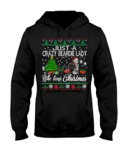 Crazy Lady Loves Beardie And Christmas Hooded Sweatshirt thumbnail