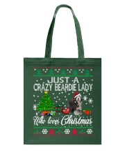 Crazy Lady Loves Beardie And Christmas Tote Bag thumbnail