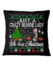 Crazy Lady Loves Beardie And Christmas Square Pillowcase thumbnail