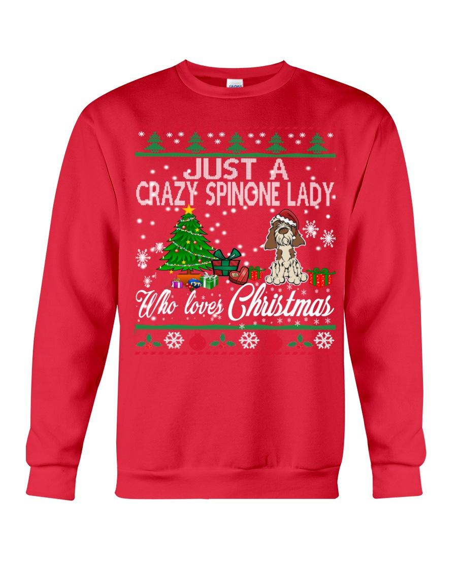 Crazy Spinone Lady Who Loves Christmas Crewneck Sweatshirt