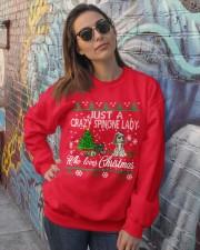 Crazy Spinone Lady Who Loves Christmas Crewneck Sweatshirt lifestyle-unisex-sweatshirt-front-3