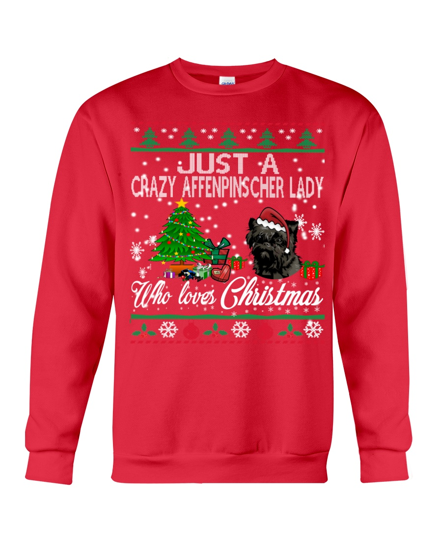 Just A Girl Who Loves Christmas And Affenpinscher Crewneck Sweatshirt