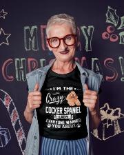 CRAZY COCKER SPANIEL LADY Ladies T-Shirt lifestyle-holiday-crewneck-front-3