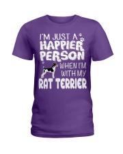 Happier Person Rat Terrier Ladies T-Shirt front
