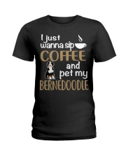 Sip Coffee With My Bernedoodle  Ladies T-Shirt front