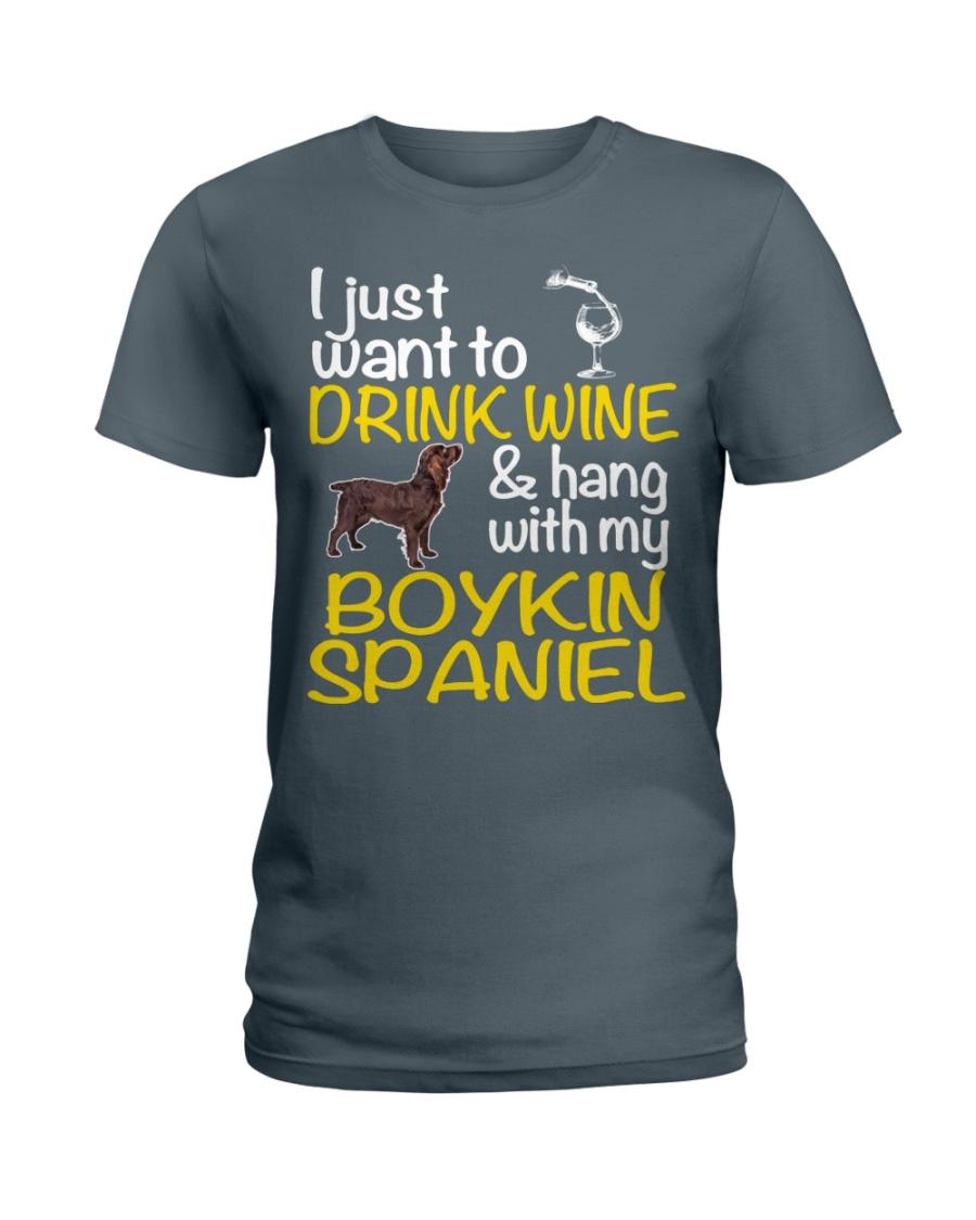 Drink Wine Boykin Spaniel  Ladies T-Shirt