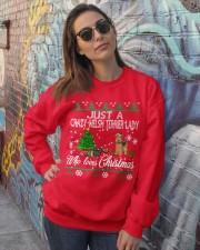 Crazy Welsh Terrier Lady Who Loves Christmas Crewneck Sweatshirt lifestyle-unisex-sweatshirt-front-3