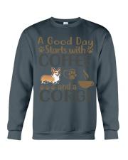 A Good Day WIth Corgi And Coffee Crewneck Sweatshirt thumbnail
