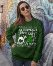 Christmas Is Better WIth A Miniature Horse Crewneck Sweatshirt lifestyle-unisex-sweatshirt-front-3