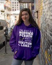 Happier Person Yakutian Laika Hooded Sweatshirt lifestyle-unisex-hoodie-front-1
