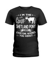 CRAZY SHETLAND PONY LADY Ladies T-Shirt front