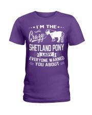 CRAZY SHETLAND PONY LADY Ladies T-Shirt tile