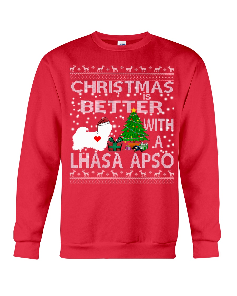 Christmas Is Better With A Lhasa Apso Crewneck Sweatshirt