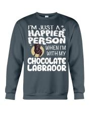 Chocolate Lab Happier Person  Crewneck Sweatshirt thumbnail