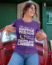 Chocolate Lab Happier Person  Ladies T-Shirt apparel-ladies-t-shirt-lifestyle-01