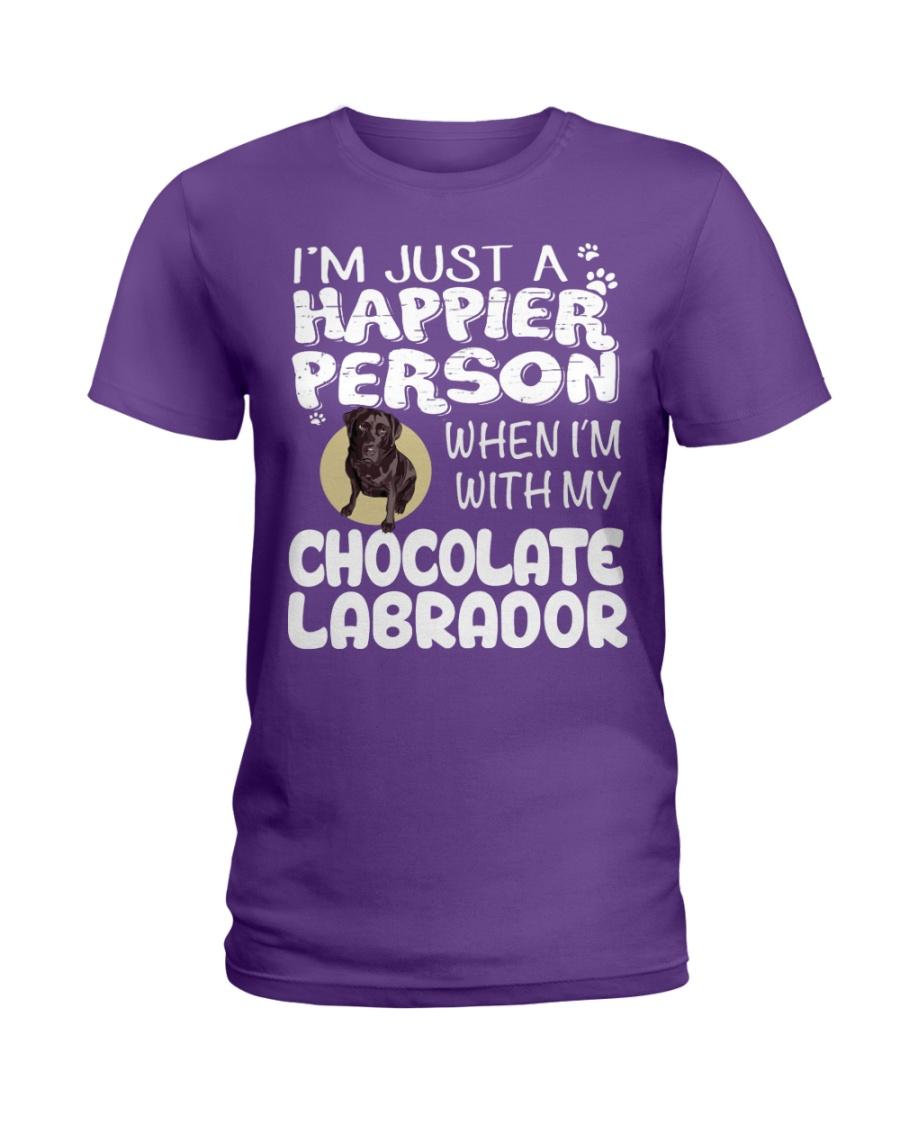Chocolate Lab Happier Person  Ladies T-Shirt