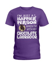 Chocolate Lab Happier Person  Ladies T-Shirt front