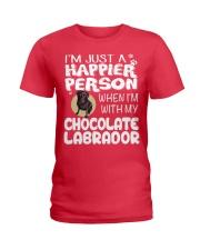 Chocolate Lab Happier Person  Ladies T-Shirt tile